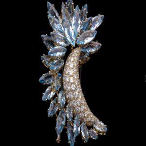 Vintage Faraone Aquamarine and Diamond Clip Brooch