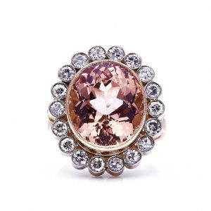 Vintage French Morganite and Diamond Cluster Ring