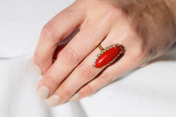 Vintage Natural 'Ox Blood' Coral Gold Ring