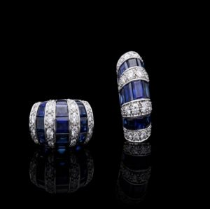 Vintage Oscar Heyman Sapphire Diamond Platinum Earrings