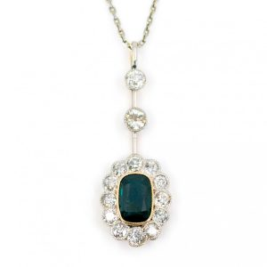 Vintage Sapphire and Old Mine Cut Diamond Drop Pendant