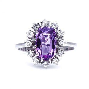 Vintage Violet Spinel Diamond Cluster Ring