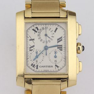 Cartier Tank Francaise 18ct Yellow Gold 1830 Chronograph, With Box