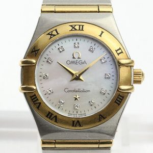 Omega Constellation Ladies 22mm MOP Diamond Dial, in Steel and Gold