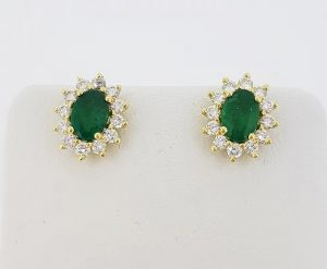 1.37ct Emerald and Diamond Oval Cluster Stud Earrings, 18ct Yellow Gold