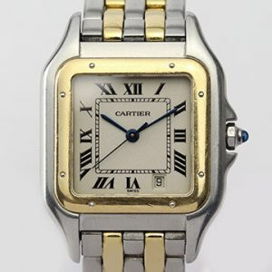 Cartier Panthere Midsize Steel and Gold Quartz Watch, With Papers