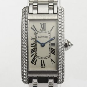 Cartier Ladies Tank Americaine 18ct White Gold with Diamond Bezel