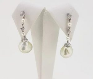 South Sea Pearl and Diamond Drop Earrings, 18ct White Gold