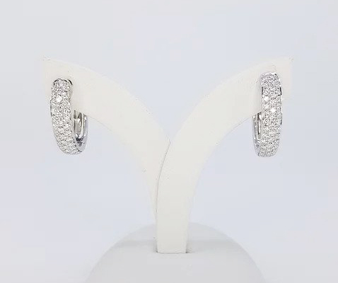 Diamond Set Hoop Earrings; 18ct white gold hoop earrings, the front set with three rows of brilliant cut diamonds. 0.70 carat total