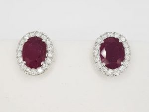 2.67ct Ruby and Diamond Oval Cluster Stud Earrings in 18ct White Gold
