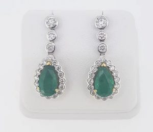 6.13ct Emerald and Diamond Pear Shaped Cluster Drop Earrings