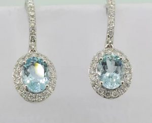 Aquamarine and Diamond Oval Cluster Drop Earrings