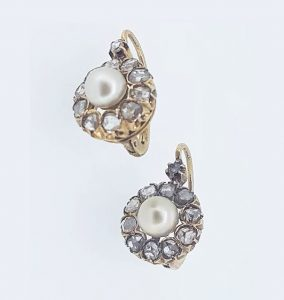 Victorian Rose Cut Diamond and Natural Pearl Cluster Drop Earrings