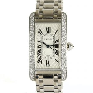 Cartier Tank Américaine Midi 18ct White Gold Diamond Automatic Watch