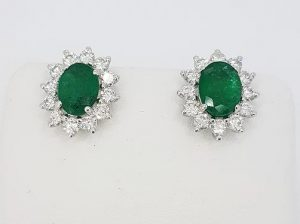Emerald and Diamond Oval Cluster Earrings, 2.54 carats, 18ct Gold