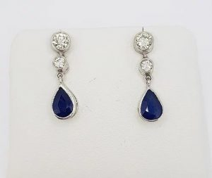 Pear Shaped 1.25ct Sapphire and Diamond Drop Earrings, 18ct Gold