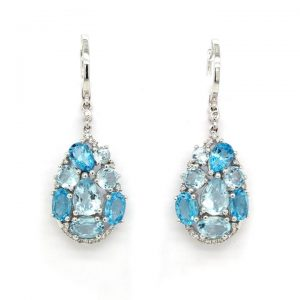 Pair of Blue Topaz and Diamond Abstract Drop Earrings in 18ct White Gold