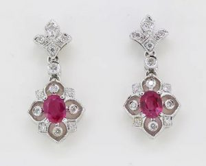 Pair of Decorative Ruby and Diamond Floral Drop Earrings