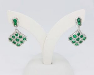 1.30ct Emerald and Diamond Fan Shaped Cluster Drop Earrings