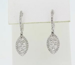 1.00ct Diamond Marquise Shaped Cluster Drop Earrings