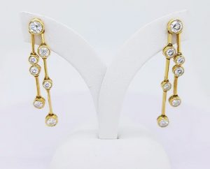 Contemporary 1.40ct Diamond Drop Earrings, 18ct Yellow Gold, G Colour,