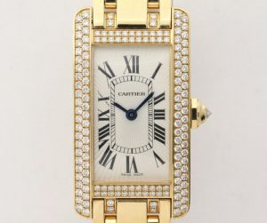 Cartier Ladies Tank Americaine 18ct Yellow Gold and Diamond Watch