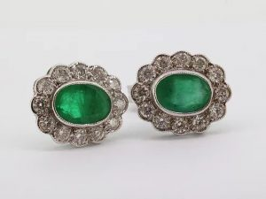 1.66ct Emerald and Diamond Oval Cluster Stud Earrings
