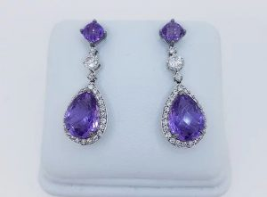 Amethyst and Diamond Pear Shaped Cluster Drop Earrings