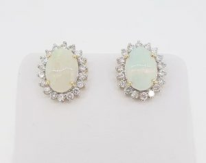 4ct Opal and Diamond Oval Cluster Stud Earrings, 18ct Gold