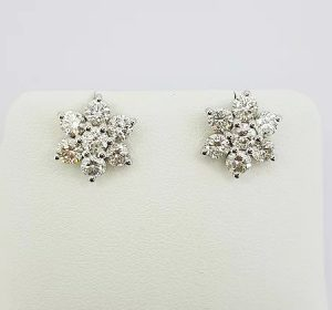 Diamond Floral Cluster Stud Earrings, 2.00 carat total, 18ct White Gold