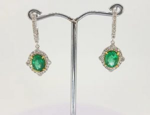 2.21ct Emerald and Diamond Cluster Drop Earrings