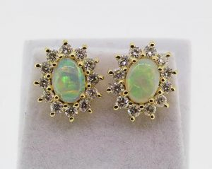 Opal and Diamond Oval Cluster Stud Earrings in 18ct Yellow Gold
