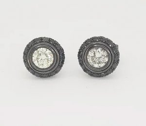 White and Black Diamond Halo Detachable Stud Earrings
