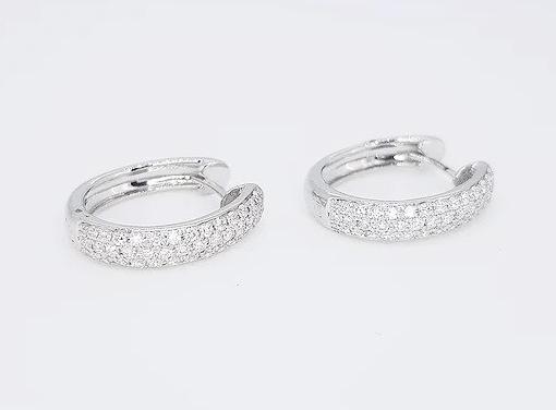 0.70ct Diamond Set 18ct White Gold Hoop Earrings