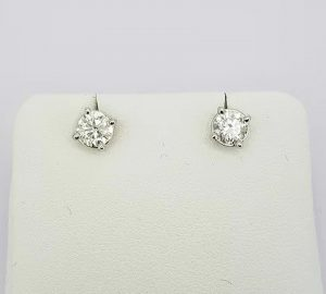 Pair of Diamond Solitaire Stud Earrings, 1.01 carat total, 18ct White Gold