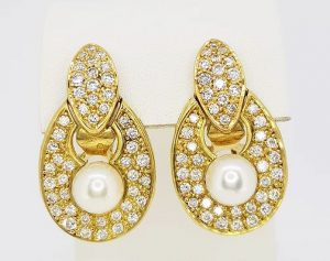 Vintage French Pearl, Diamond and 18ct Yellow Gold Earrings