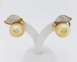 Vintage Golden South Sea Pearl and Diamond Earrings, 18ct Yellow Gold