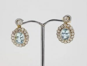 3.80ct Aquamarine and Diamond Oval Cluster Drop Earrings, 18ct Gold