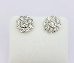 Diamond Daisy Cluster Stud Earrings, 2.55 carat total, 18ct White Gold