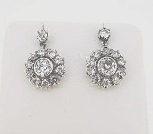 Old Cut Diamond Cluster Drop Earrings, 2.50 carat total