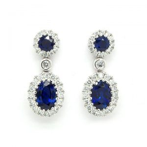 Pair of 1.32ct Sapphire and Diamond Cluster Drop Earrings, 18ct Gold