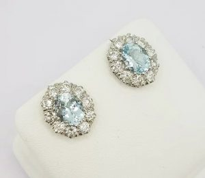 2.50ct Aquamarine and Diamond Oval Cluster Earrings, 18ct White Gold