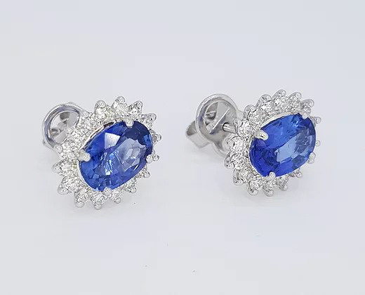 2.46ct Sapphire and Diamond Oval Cluster Earrings, in 18ct white gold.