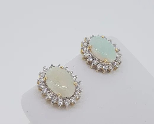 4ct Opal and Diamond Oval Cluster Stud Earrings, in 18ct gold