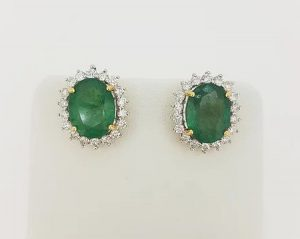 5.07ct Emerald and Diamond Oval Cluster Stud Earrings