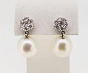 South Sea Pearl and Diamond Cluster Drop Earrings