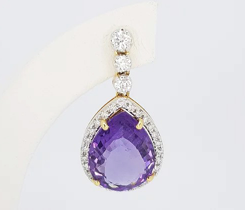 Amethyst and Diamond Drop Earrings; pear-shaped rose-cut amethysts, surrounded by diamonds, graduated diamond set drop, 18ct yellow gold.