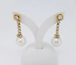 Vintage South Sea Pearl and Diamond Drop Earrings, 18ct Yellow Gold