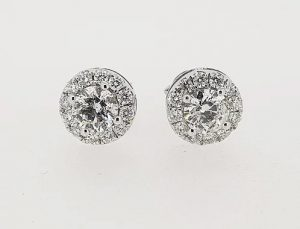 1.51ct Diamond Halo Cluster Stud Earrings, G Colour, 18ct White Gold
