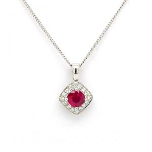 Diamond Shaped 0.60ct Ruby and Diamond Cluster Pendant, in 18ct Gold